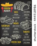 mexican menu placemat food... | Shutterstock .eps vector #444518986