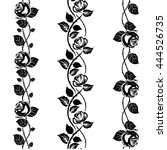 rose tattoo stencil  lace or... | Shutterstock .eps vector #444526735