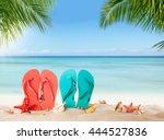 summer flipflops on sandy beach ... | Shutterstock . vector #444527836