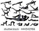set of silhouettes of girl... | Shutterstock .eps vector #444542986