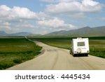 rv on dempster highway above... | Shutterstock . vector #4445434