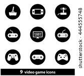 video game circular icon set. ... | Shutterstock . vector #444555748