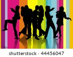 silhouette of a group friends... | Shutterstock . vector #44456047
