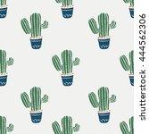 cute cacti  flowerpots cactus... | Shutterstock .eps vector #444562306