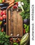 fresh raw vegetable ingredients ... | Shutterstock . vector #444566626
