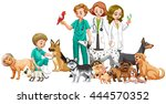 vets and doctors with animals | Shutterstock .eps vector #444570352