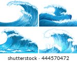 four scenes of ocean waves... | Shutterstock .eps vector #444570472