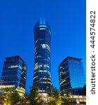 Small photo of Warsaw, Poland - May 25, 2016: The Warsaw Spire is a complex of Neomodern office buildings in Warsaw, Poland constructed by the Belgian real estate developer Ghelamco. It consists of a 220-metre main
