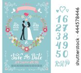 wedding floral invitation cards.... | Shutterstock .eps vector #444578446