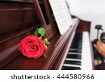 piano keys and red rose with... | Shutterstock . vector #444580966