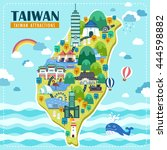 adorable taiwan travel map... | Shutterstock .eps vector #444598882
