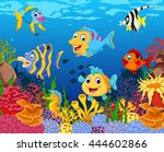 funny fish cartoon with beauty... | Shutterstock .eps vector #444602866