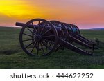 Four pieces of artillery in a row at Antietam National Battlefield in Sharpsburg, Maryland. The battle at Antietam was the bloodiest single-day battle in American history.