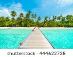 beautiful tropical maldives... | Shutterstock . vector #444622738