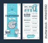 burger bar menu. fastfood... | Shutterstock .eps vector #444643582