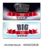 red ribbon banner. vintage... | Shutterstock .eps vector #444652828
