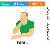 thinking man icon. flat color...