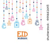 eid mubarak greeting card... | Shutterstock .eps vector #444661645