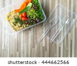 lunch box   fried brown rice...   Shutterstock . vector #444662566