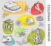 set of stickers sketch hand... | Shutterstock .eps vector #444667012