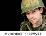 shell shocked american soldier   Shutterstock . vector #444699286