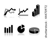 set of 6 graph icon variations   Shutterstock .eps vector #44470972