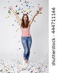 beautiful woman celebrating... | Shutterstock . vector #444711166