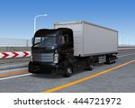 black container truck on the... | Shutterstock . vector #444721972