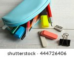 pencil case with rulers and... | Shutterstock . vector #444726406