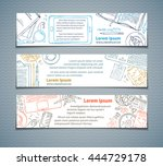 Vector set of doodles horizontal banners of workplaces. Doodles colourful contours of gadgets and office stationery supplies on white background. Top view. Design elements for work and education.