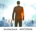 research concept with back view ... | Shutterstock . vector #444729646