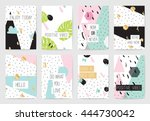 set of cards with inspirational ... | Shutterstock .eps vector #444730042