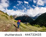 woman hiker with backpack enjoy ... | Shutterstock . vector #444733435