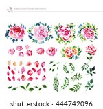 watercolor hand drawn floral... | Shutterstock . vector #444742096