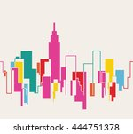 silhouette of the cityscape... | Shutterstock .eps vector #444751378