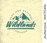 vintage hand drawn outdoor adventure badge. vector logo template with ink texture | Shutterstock vector #444751696
