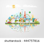 dirrefent world famous sights.... | Shutterstock .eps vector #444757816