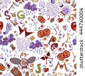 halloween seamless bright kids... | Shutterstock .eps vector #444760006