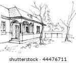 village house sketch | Shutterstock .eps vector #44476711
