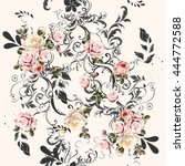 Beautiful seamless pattern with swirls and roses in vintage style