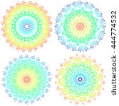 set of colorful mandalas. round ...   Shutterstock .eps vector #444774532