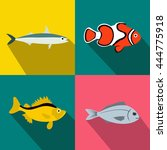 fish banners set in flat style... | Shutterstock .eps vector #444775918