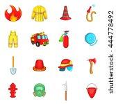 fireman icons set in cartoon... | Shutterstock .eps vector #444778492