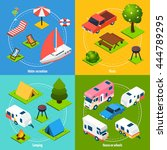 colorful camping and travel... | Shutterstock .eps vector #444789295