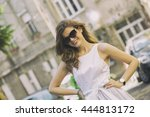 young beautiful fashionable... | Shutterstock . vector #444813172
