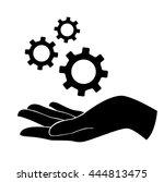 hand holding gear   engineer... | Shutterstock .eps vector #444813475