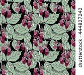 raspberries seamless pattern | Shutterstock .eps vector #444827242