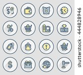 commerce icons. contour lines... | Shutterstock .eps vector #444828946