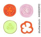 set of ripe vegetables  slices... | Shutterstock .eps vector #444830992