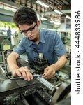 factory workers inspection...   Shutterstock . vector #444833986